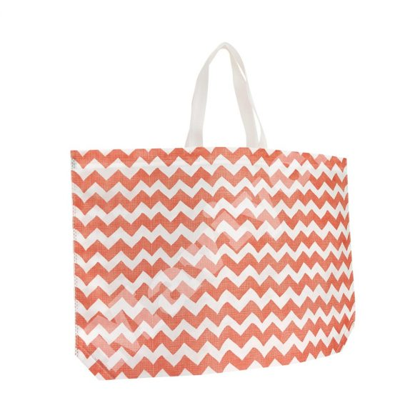 HEAT SEALED RED ZIGZAG NONWOVEN STOCK BAG